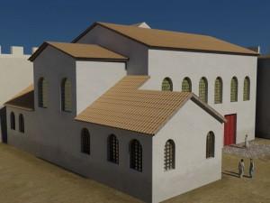 Restitution de l'église paléochrétienne mise au jour dans le castrum de Mandeure.